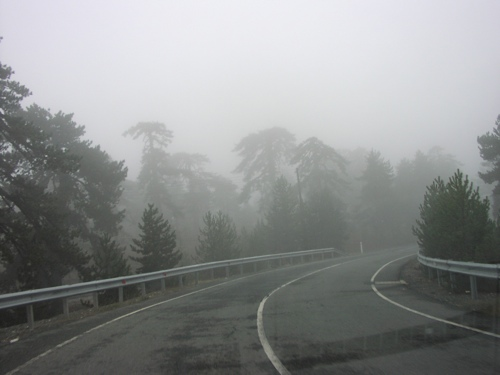 driving through a cloud, on a mountaintop in cyprus. photo: vered fluk