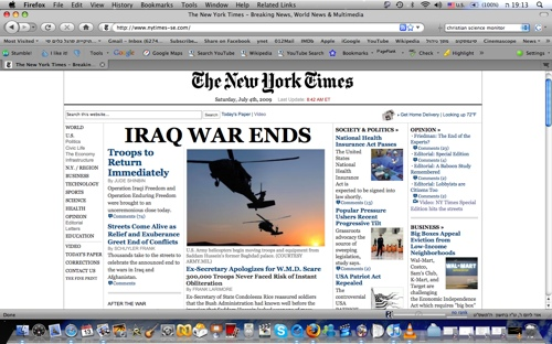 the fake nytimes headline by The Yes Men